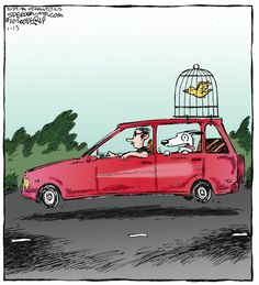 """Happy travelers:  they ride in the car, he flies...    - """"Speed Bump"""" by Dave Coverly;  1/13/15"""