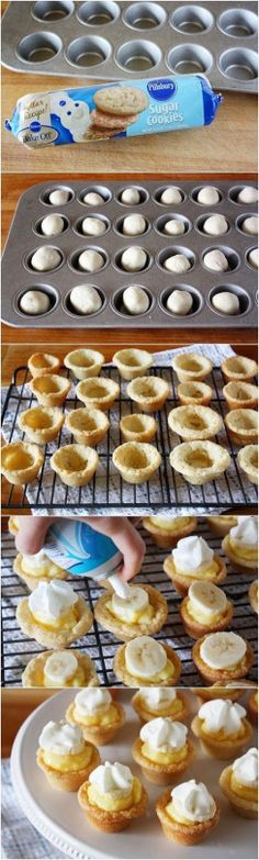 Mini banana cream cookie pies. These are easy and adorable! The perfect treat after a long day of classes