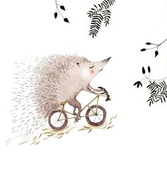 s an animated gif for Cristina Barsony's lovely illustration 'The Adventurous Hedgehog' Art And Illustration, Hedgehog Illustration, Bicycle Illustration, Hedgehog Art, Hedgehog Drawing, Bicycle Art, Drawing Challenge, Animals Images, Woodland Animals