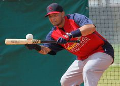 Louis Cardinals catcher Yadier Molina works a bunting drill at the Cardinals spring training complex at Roger Dean Stadium in Jupiter, F. Cardinals Baseball, St Louis Cardinals, Chicago White Sox, Boston Red Sox, Seattle Mariners, Mariners Baseball, Cardinals Spring Training, Roger Dean, Baseball Quotes