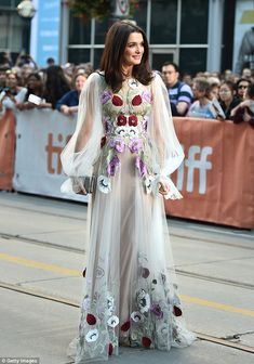 Floral fancy: The 46-year-old movie star looked sensational in a billowing…