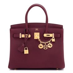 26501aa9109 Birkin Bordeaux 30cm Togo Gold Hardware A Stamp Red Leather Hobo Bag