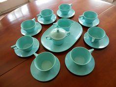 Vintage Texas Wares coffee and creamer set aqua turquoise melmac 1960's kitsch retro melamine by BopandAwe on Etsy