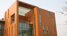 woodgrain color facade HPL plate for exterior wall reconstruction