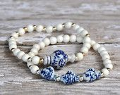 Blue and White Ceramic Fish Bead Bracelets / Beaded Bracelets
