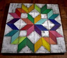 Carpenters Wheel Barn Quilt If you love distressed things like me then this perfectly, imperfect barn quilt is for you! It is constructed from distressed cedar wood that is painted, and sanded, leaving a beautiful aged look. It is sealed with 3 coats of urethane to protect against sun,