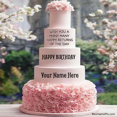 Write Your Name On Big Birthday Wishes Cake Picture