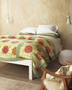 Poppy Field Quilt and Sham by Garnet Hill >> This is so pretty!