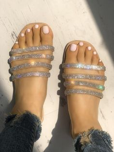 From casual to actually beautiful, try out on-trend mid-calf footwear with our distinctive patterns and looks you are sure to like. Bling Sandals, Sandals Outfit, Cute Sandals, Fashion Sandals, Flat Sandals, Cute Shoes, Me Too Shoes, Shoes Sandals, Gladiator Sandals