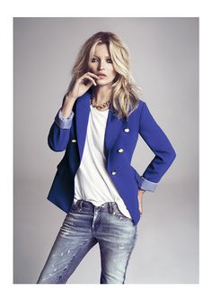Kate Moss blue blazer white shirt