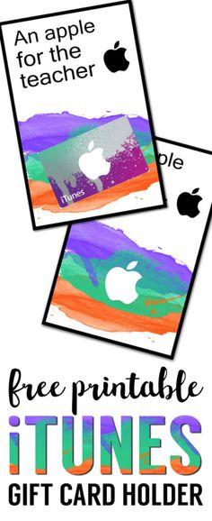 Apple Teacher Printable iTunes Gift Card Holder. Easy teacher appreciation gifts free printable. DIY unique teacher appreciation gifts.