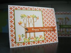 Thanksgiving Cards Set of 4 Birch Trees Fall by apaperaffaire