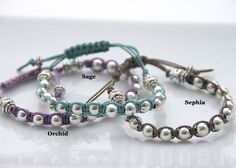 Friendship bracelets - pick from almost 20 different cord colors! Pumpkin Designs, Swarovski Pearls, 14 Karat Gold, Bracelet Designs, Pearl Bracelet, Friendship Bracelets, Cord, Beading, Jewelry Design