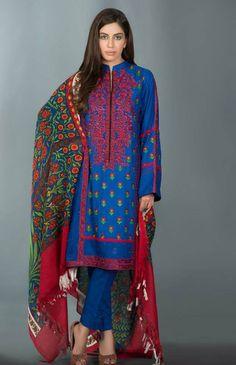Buy Blue Linen Salwar Kameez by Mausummary Winter Collection