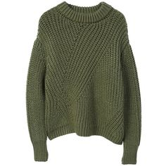Chunky-Knit Sweater (3.175 RUB) ❤ liked on Polyvore featuring tops, sweaters, green cable knit sweater, thick cable knit sweater, oversized green sweater, long sleeve sweater and over sized sweaters