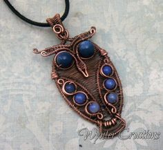 Merlin Horned Owl Wire Wrapped Copper Pendant with Blue Agate | WynterCreations - Jewelry on ArtFire