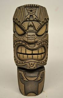 Sculpted from Balsa Foam Tiki Tattoo, Wiki Tiki, Tiki Maske, Foam Carving, Tree Carving, Tiki Hawaii, Tiki Head, Tiki Statues, Ceramic Mask