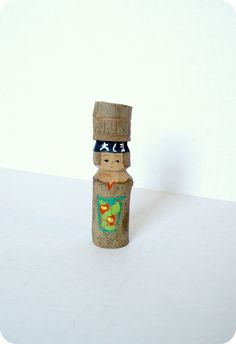 JAPANESE VINTAGE Wooden Hand Carved Kokeshi Doll by TokyoVintage26, $12.50