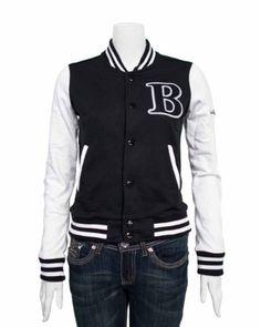 Black White Ladies Jersey Letterman B Jacket Varsity Team 28 Shoulder $24.50 #topseller