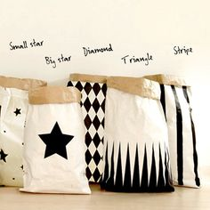 Black White Storage Geometric paperbag storage by gridastudio