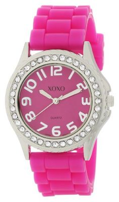 XOXO Women's XO3273 Fuchsia Dial Crystal Bezel Boyfriend Silicone Rubber Strap Watch $19.99