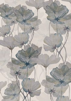 Grey water colour floral painting