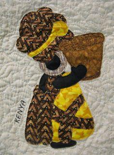 KENYA Sunbonnet Sue block at MooseStash Quilting. Design by Debra Kimball - International Sunbonnet Sue