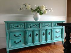SOLD - Vintage Hand Painted Cottage Chic Shabby Distressed Aqua Turquoise Teal Blue Dresser Console Cabinet