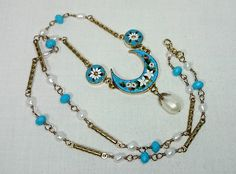 Vintage Micro Mosaic Necklace with White Freshwater Pearl