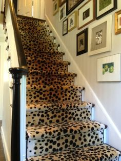 Loving Erin's new stair runner, and her gallery wall, too. Erin Gates Design // my leopard stairs Leopard Carpet, Leopard Rug, Leopard Decor, Leopard Pattern, Snow Leopard, Erin Gates, Balustrades, Banisters, Railings