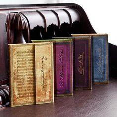 notebooks: L → R :  Mozart,   Blake, Edgar Allan Poe,   Wordsworth
