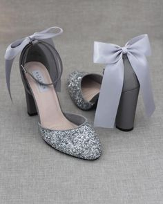 Bridal Heels, Wedding Heels, Wedding Shoes Block Heel, Diy Wedding Shoes, Wedding Boots, Prom Heels, Silver Sparkly Heels, Glitter Heels, Silver Shoes For Prom