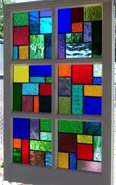Your place to buy and sell all things handmade - Large Multi Color Stained Glass Reclaimed Wood Window - Stained Glass Crafts, Faux Stained Glass, Stained Glass Designs, Stained Glass Panels, Stained Glass Patterns, Leaded Glass, Mosaic Art, Mosaic Glass, Tiffany Stained Glass