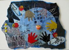 All Hands On Deck, Floating collage mounted on mat board, unframed. 5 X 8, $35.00