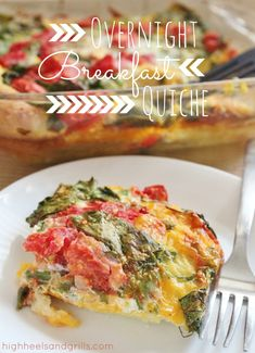 Overnight Breakfast Quiche. This is the perfect breakfast for hosting guests! It's super easy and can be made ahead. Yes, please. http://www.highheelsandgrills.com/2013/03/overnight-breakfast-quiche.html