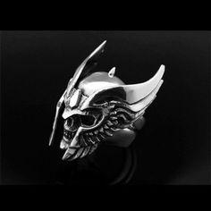 925 Sterling Silver Helmet Skull Ringskull by 925SilverPetrichor