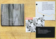 Wooden and florals folder invite