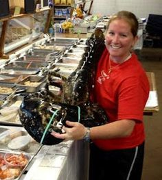 21-pound lobster was recently caught near Cape Cod and is on display at Cap'n Elmer's in Orleans, Mass.
