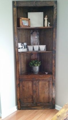 Kitchen Corner Hutch Ana White 20 Ideas For 2019 Tall Corner Cabinet, Corner Hutch, Corner Storage, Kitchen Corner, Corner Nook, Cabinet Storage, Corner Shelves Living Room, Rustic Corner Shelf, Diy Corner Shelf