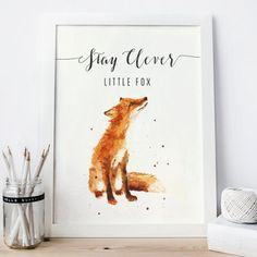 Stay clever little fox Print, fox Watercolor fox Painting, woodland nursery…