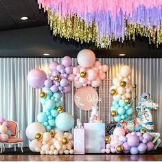 Adorable pastel aqua, lavender, peach, gold themed balloon garland - customize your colors! Carnival Themed Party, Carnival Themes, Carnival Birthday, Unicorn Birthday Parties, Birthday Balloons, First Birthday Parties, Birthday Party Themes, Pastel Balloons, Rainbow Balloons