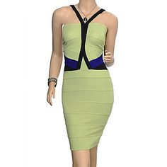 TS Sexy V Neck Contrast Color Halter Bandage Bodycon Dress - Buy 3 Items in Women Clothing Section & Get 50% Off, Buy 2 Get 40%, Buy 1 Get 30% Off at Light In The Box UK.