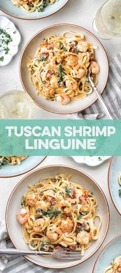 Creamy, garlicky and super delicious Tuscan shrimp linguine! Ready in 20 minutes #Tuscanshrimp #familymeal #quickmeal #pasta #shrimp