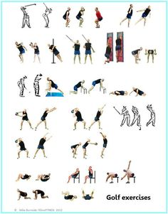 Golf stretch and strength exercise poster www.yesnofitness.com