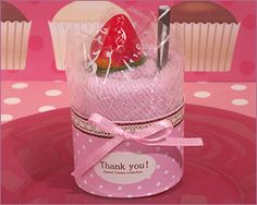 Sweet Treats Collection Fancy Strawberry Cupcake Towel Favors