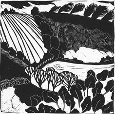 Abstract Landscape Linocut Print 6 by jessfreeman on Etsy, £30.00