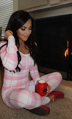 Christmas pink plaid pajamas. There's always room for pj's. Women's fashion.