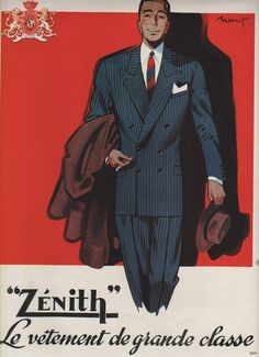 Vintage French ad for Zenith suits (1949). Modern & classy in navy blue.