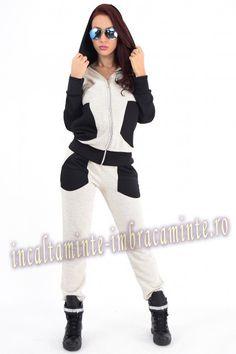 Trening Dama Casual Bej Cu Negru Model Deosebit Online Shopping For Women, Winter Jackets, Clothes For Women, Casual, Sports, Model, Fashion, Winter Coats, Outerwear Women