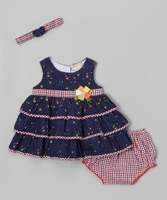 Love this Navy Stars & Red Gingham Tiered Dress Set - Infant on #zulily! #zulilyfinds